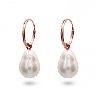 Classic Gold Tube Hoop Earrings with Fresh Water Pearl (by Pair)
