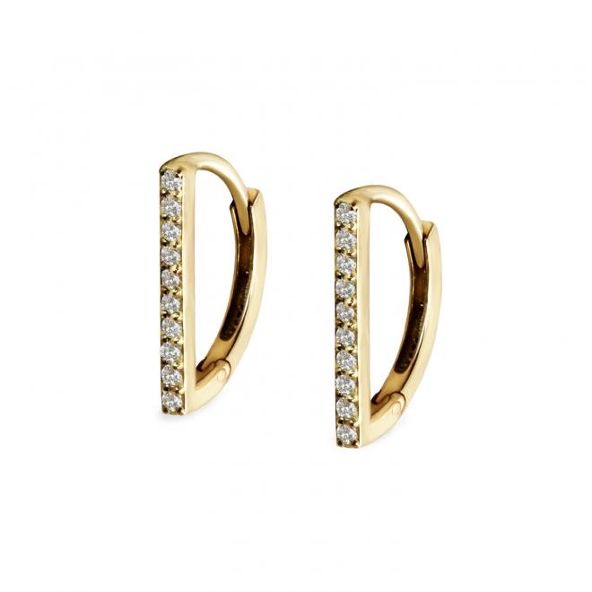 D Shape Hoop Earring with 20 Diamonds