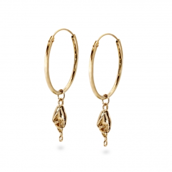 Classic Gold Tube Hoop Earrings God Hand Charm
