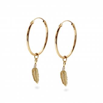 Gold Tube Hoop Earrings with Diamonds Feather Charm