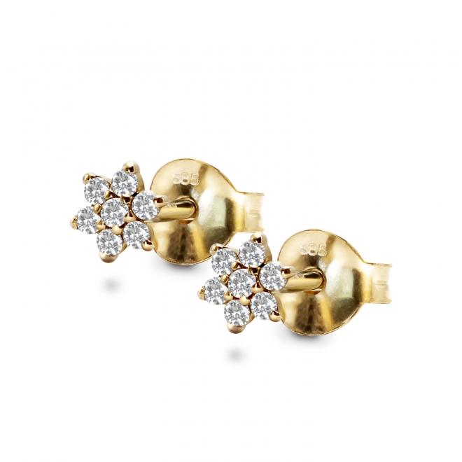 Gold Diamond Star Set Stud Earrings