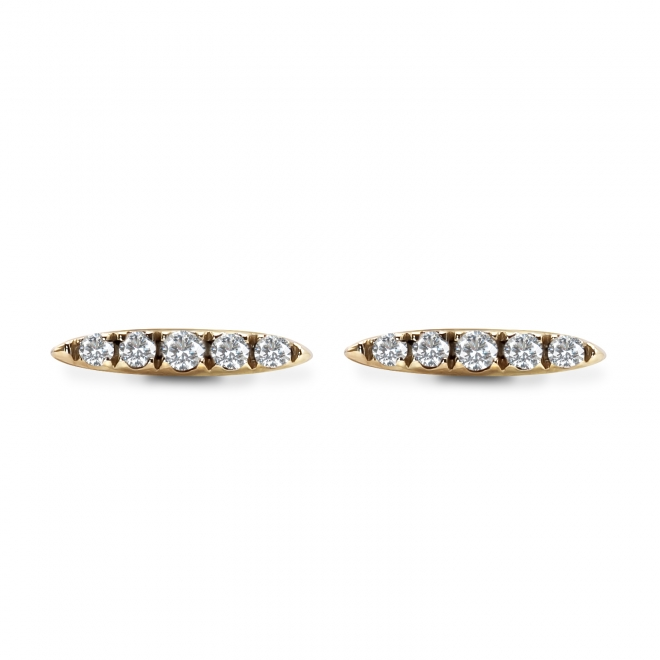 5 Diamonds Set Gold Stud Earrings