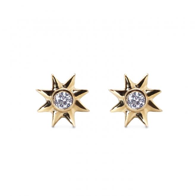 8 Points Star Octagram Gold Stud Earrings