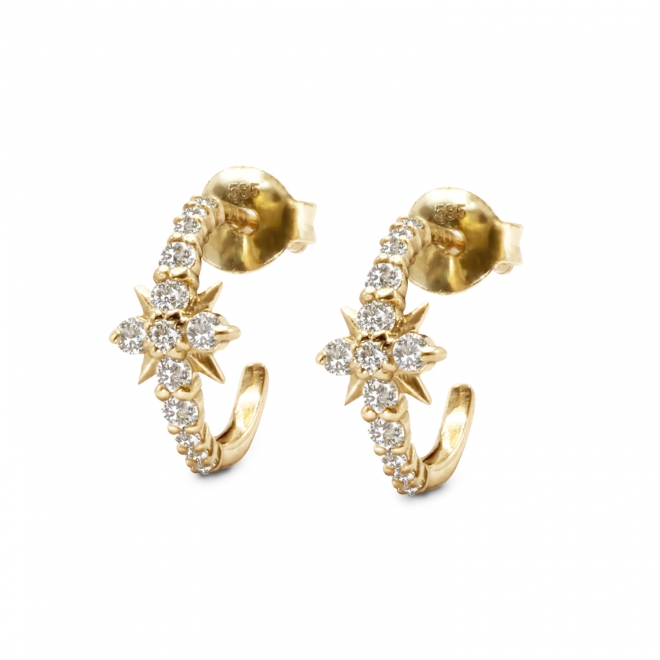 26 Stones Eight-Pointed Star Inner Hoop Stud Earrings