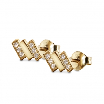 Three Bars Stud Earrings with 12 Diamonds