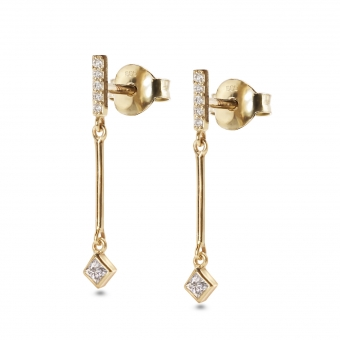 Bar Diamonds with Hang Square Shape Stud Earrings