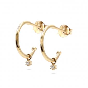 Inner Hoop Stud Earrings with Hang Round Diamonds
