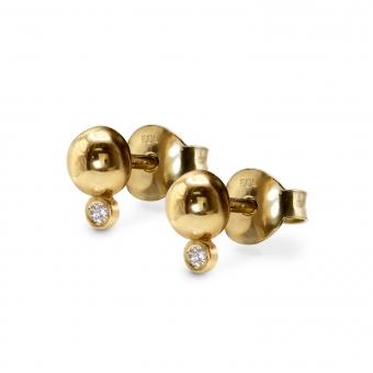 Two Dot with 2 Diamonds Stud Earrings