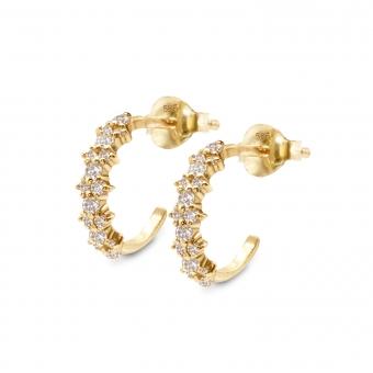 Inner Hoop Stud Earrings with Pair Round Diamonds