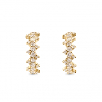 Inner Hoop Stud Earrings with Zigzag Round Diamonds