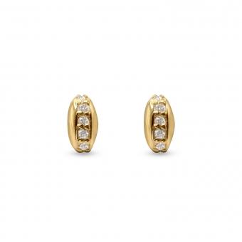 Oval Shape Stud Earrings with 10 Diamonds