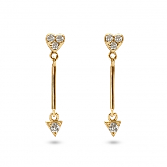 Small Heart with Hang Triangle Shape Stud Earring