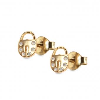 Lock Shape Stud Earrings with 12 Diamonds