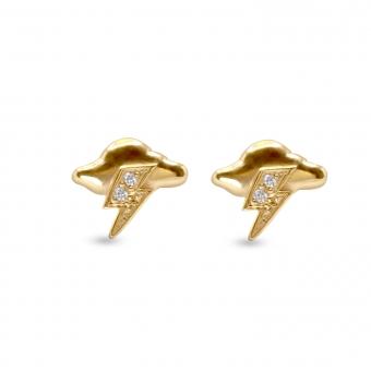 Cloud Thunder Shape Stud Earrings with 4 Diamonds