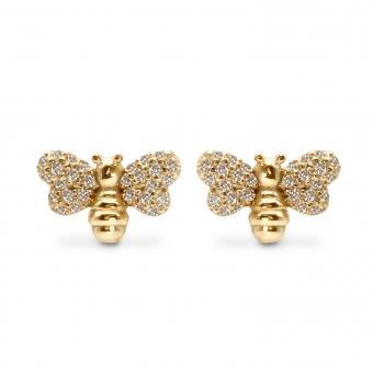 Bee Shape Stud Earrings with 56 Diamonds