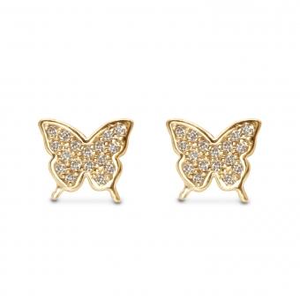 Butterfly Shape Stud Earrings with 36 Diamonds