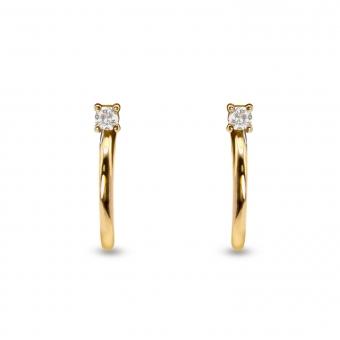 Inner Hoop Stud Earrings with Diamond