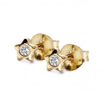 Star Shape Stud Earring with 2 Diamonds