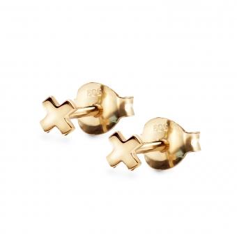 Plus Shape Gold Stud Earring
