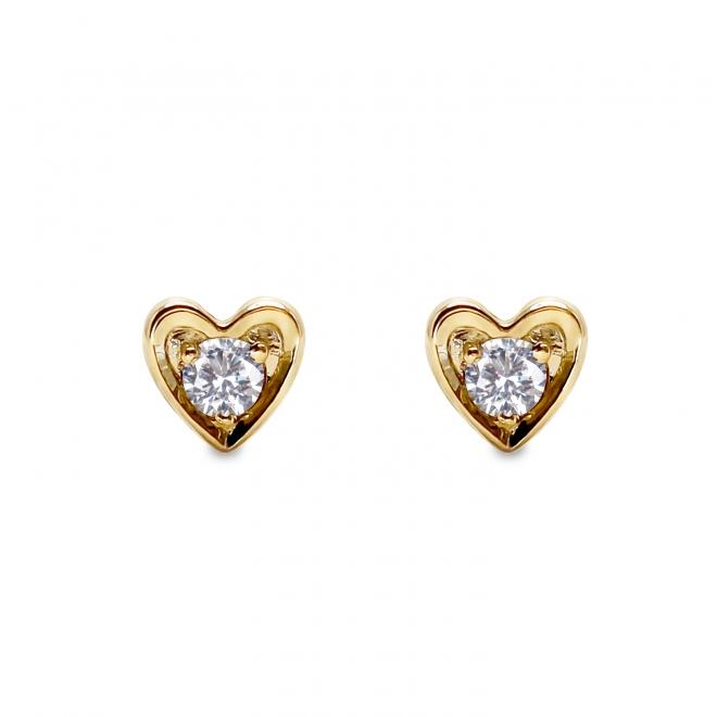 Heart Shape Gold Stud Earrings With 2 Diamonds