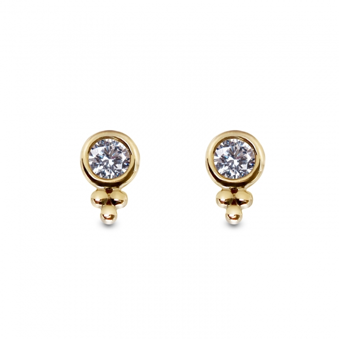 Crown Shape Gold Stud Earrings with 2 Diamonds