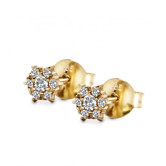 Hexagon Shape Stud Earrings with 14 Diamonds