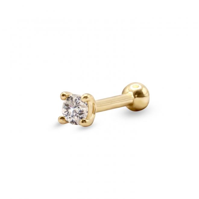 Gold Internal Threading Helix Piercing With Diamond