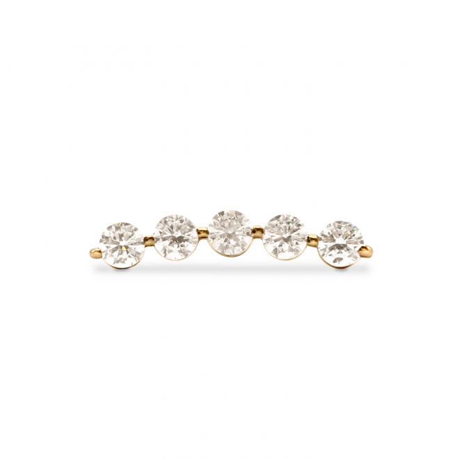 Gold Helix Piercing with 5 x 2.5mm Gemstones