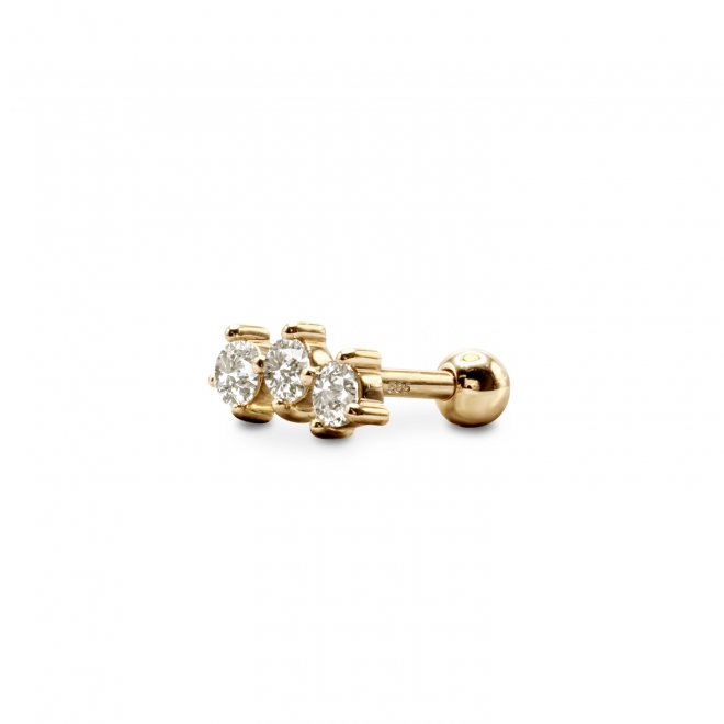 Gold Helix Piercing with 3 x 2.5mm Gemstones