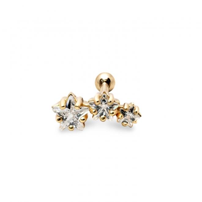 Trio Stars Helix Piercing with 3 CZ stones