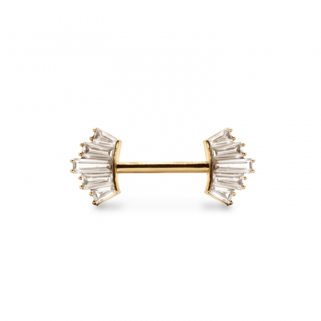 Tube Nipple Piercing with 10 Gemstones