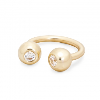 Gold Circular Barbell With Two Solid Jeweled Balls