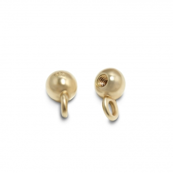 Solid Gold 3mm internal threading Ball with hoop