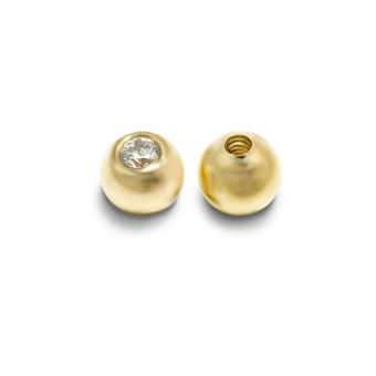 Internal Threading Solid Gold Ball with 1.5 CZ stone