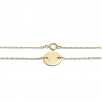 Gold 10mm Disk Bracelet with side holes 16cm chain