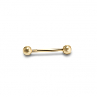 Gold Solid Straight Bar and 2 solid Balls