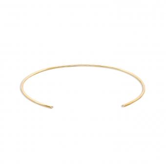 Gold Tube Bracelet With 2 x 0.008 Carat Gemstones