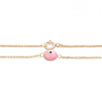 Gold Bracelet Pink Evil Eye