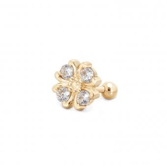 Gold Flower Helix Piercing with 4 x 3mm Gemstones