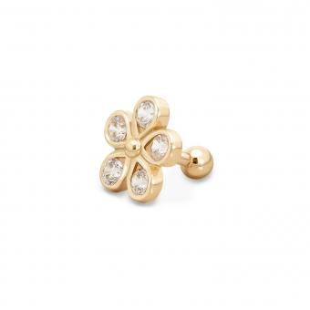 Gold Flower Helix Piercing with 5 x 3mm Gemstones