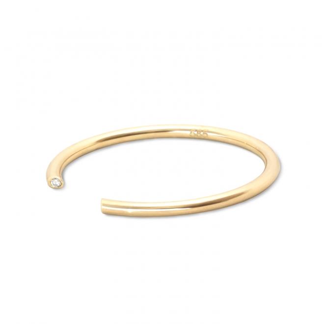 Golden Tube Open Ring with 2 Diamonds