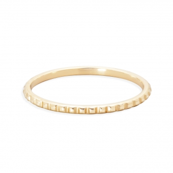 Gold Ring With Rectangle Pattern