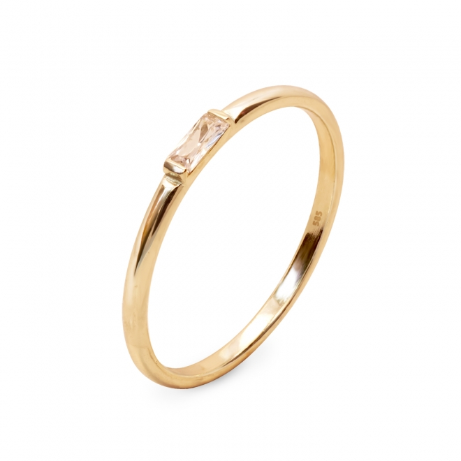 Gold Ring With Baguette Diamond