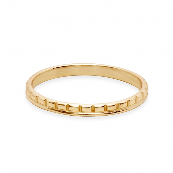 Gold Ring With Round and Rectangle Pattern