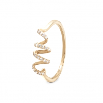 0.13ct Spiral Diamonds Gold Ring 22 stones