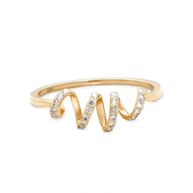 1.1mm Spiral Diamonds Gold Ring 22 stones