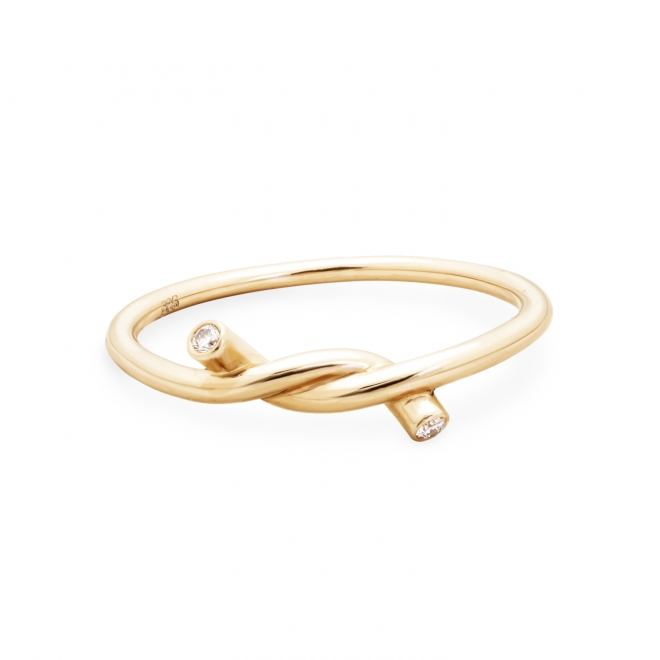 1.5mm Knot Diamonds Gold Ring 2 stones