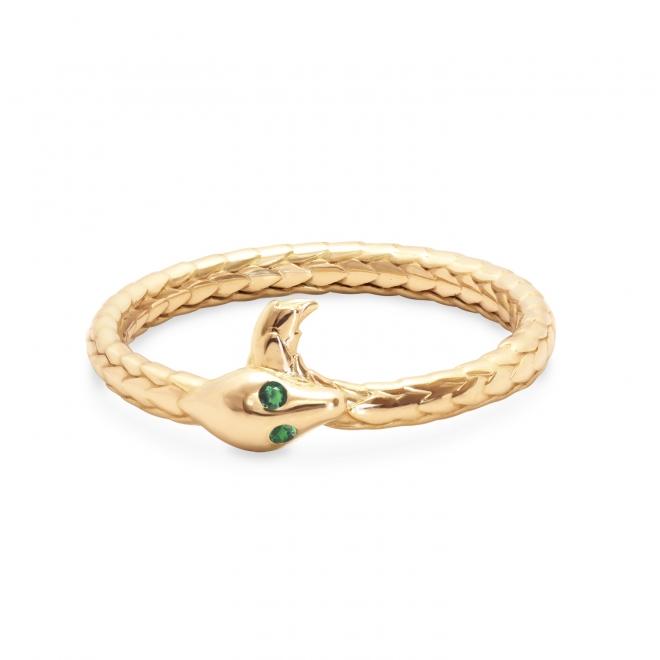 Snake Gold Ring with Gemstones Eyes