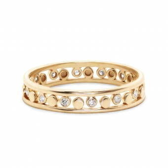 Gold Double Crown Ring With Gemstones