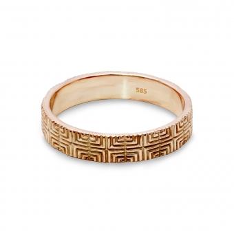 Cross Pattern Gold Ring